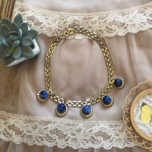VTG Vintage Marble Blue Chain Link Gold Necklace